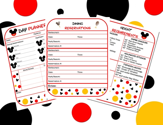 Disney Vacation Planner pages