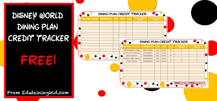 disney dining plan credit tracker