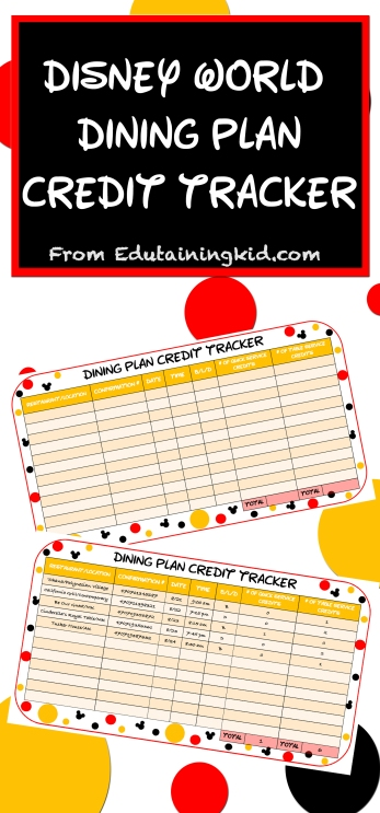 Disney World dining plan credit tracker