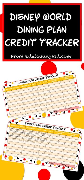 Disney World dining plan credit tracker