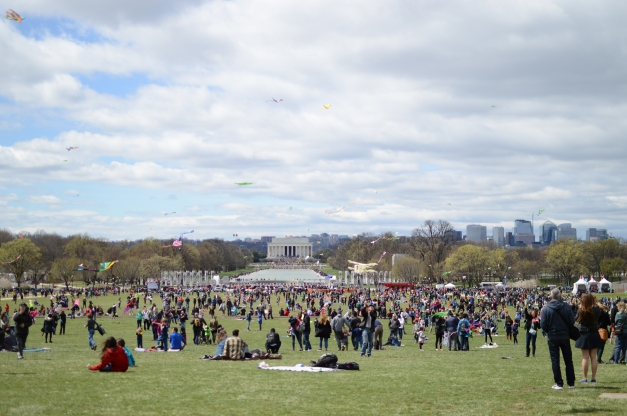 Crowds gathered on The Mall for the Blossom Kite Festival.