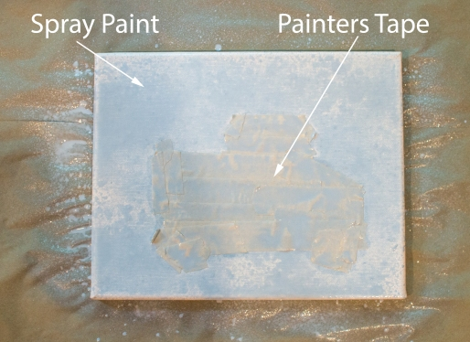 I only had masking tape. You will have paint bleed through with this kind of tape, but it can be easily wiped away.