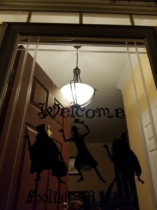 """I made hitchhiking ghost window clings to welcome """"foolish mortals""""."""