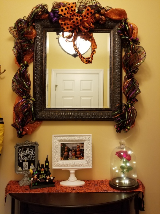 Our Disney inspired entryway decked out for Halloween.