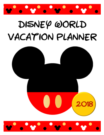 Disney World 2018 Planner Cover