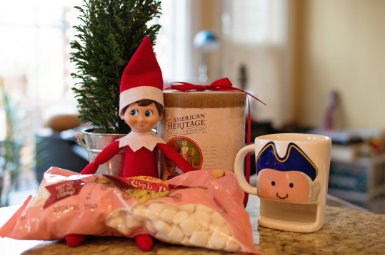 Our elf brought us a special treat for while we wait for our ornaments to dry!