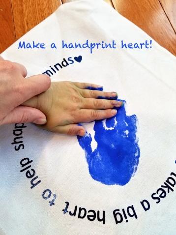 handprint heart tote