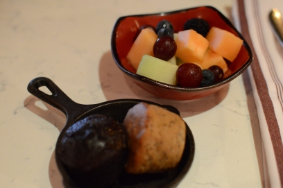 Allergy-friendly muffins and fruit salad.