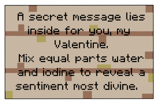 minecraft valentine iodine sign sample