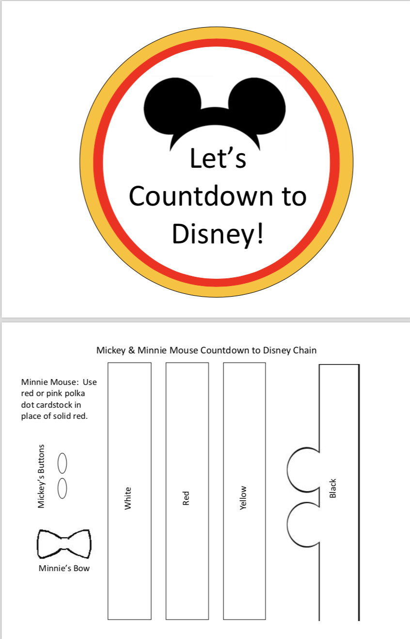 Countdown To Disney Paper Chain Template And G File Included