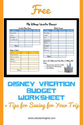 Tips for Saving for a disney vacation and budget worksheet