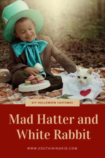 Diy No Sew Alice In Wonderland Halloween Costumes Mad Hatter And White Rabbit Edutaining Adventures